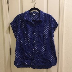 NET Blue Polka Dot Short Sleeve Button Up